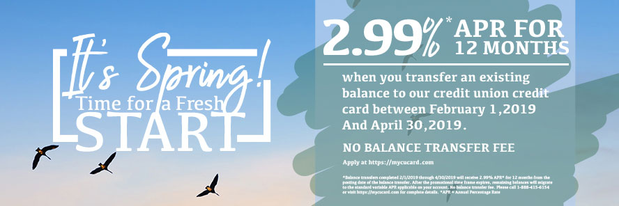 2.99% APR when you transfer an existing balance to your ACFCU credit card